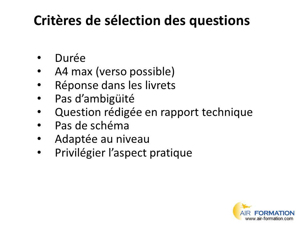 Critères de sélection des questions