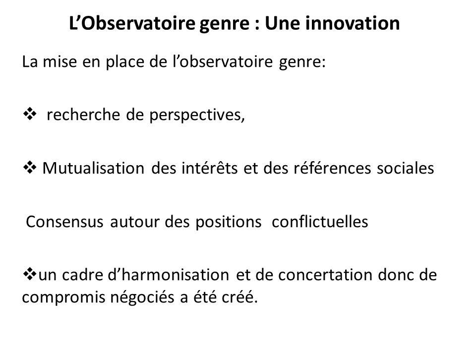 L'Observatoire genre : Une innovation