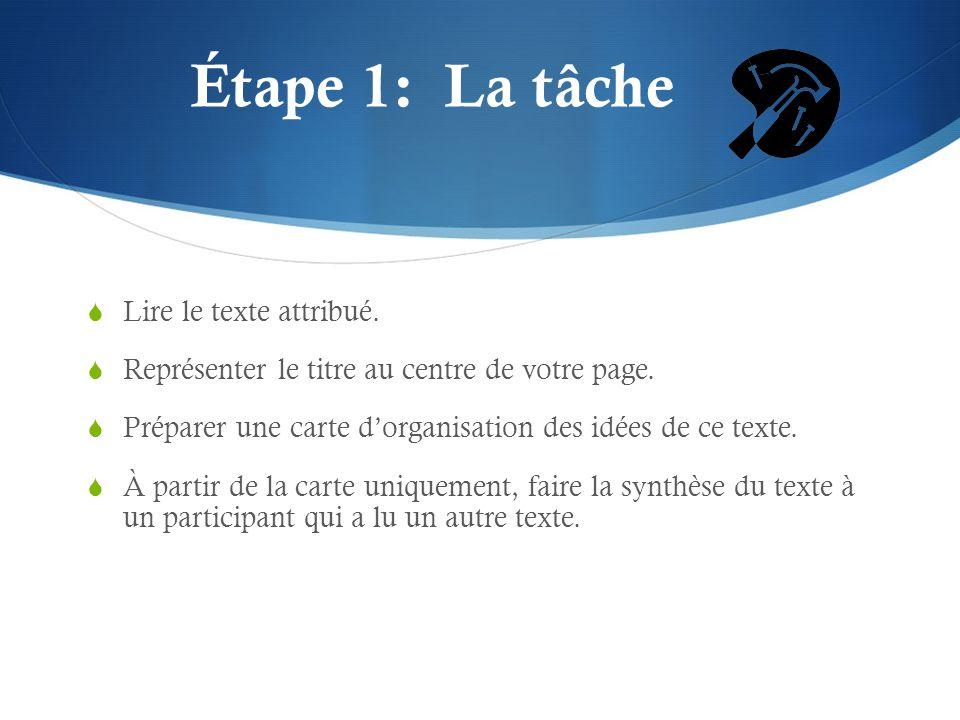 Étape 1: La tâche Lire le texte attribué.