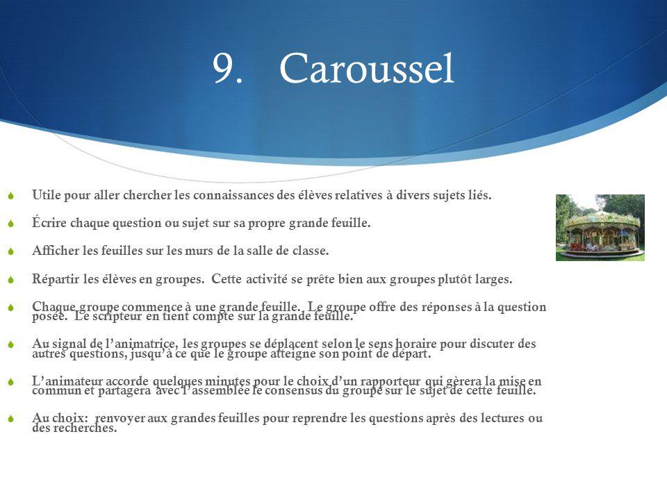 9. Caroussel Utile pour aller chercher les connaissances des élèves relatives à divers sujets liés.