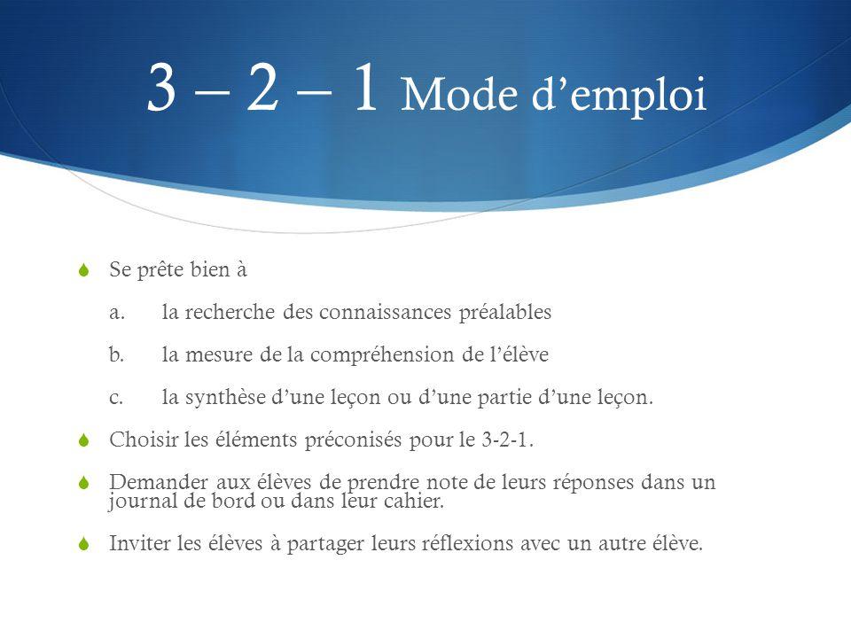 3 – 2 – 1 Mode d'emploi Se prête bien à