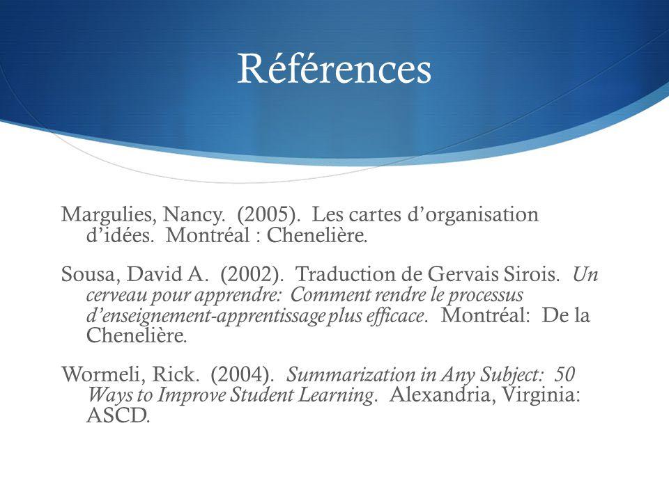 Références Margulies, Nancy. (2005). Les cartes d'organisation d'idées. Montréal : Chenelière.