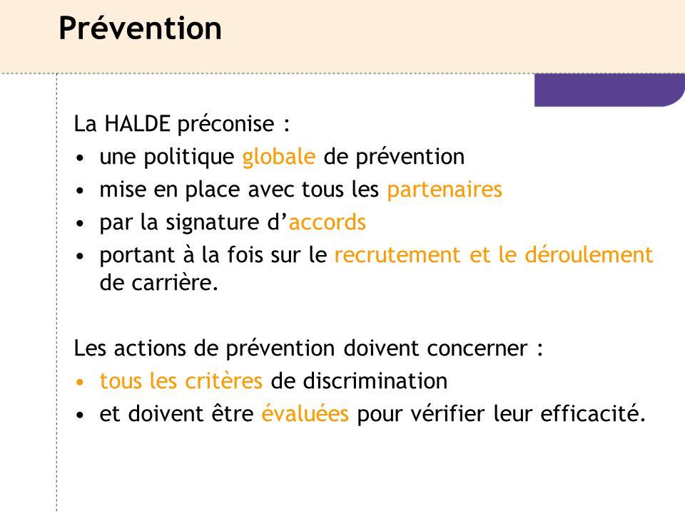 Prévention La HALDE préconise : une politique globale de prévention