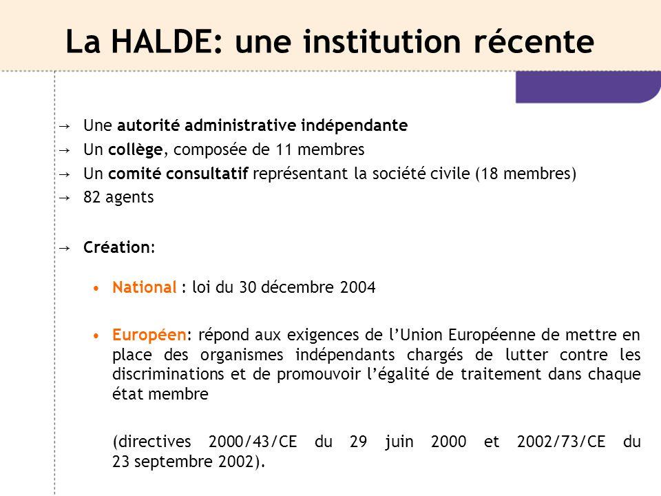 La HALDE: une institution récente