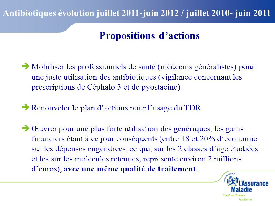 Propositions d'actions