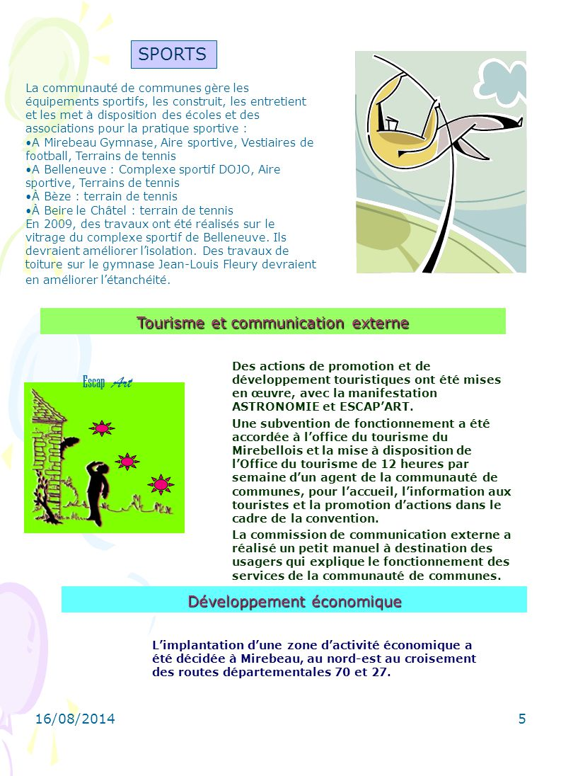 SPORTS Escap Art Tourisme et communication externe