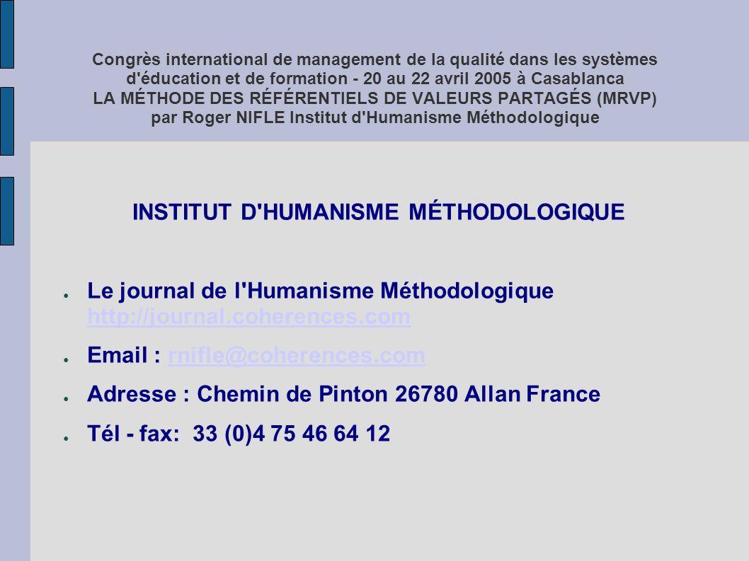INSTITUT D HUMANISME MÉTHODOLOGIQUE