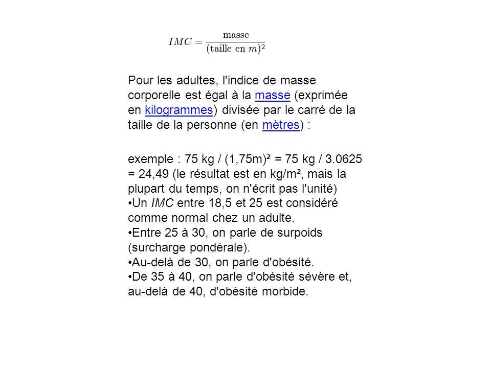 Pour les adultes, l indice de masse corporelle est égal à la masse (exprimée en kilogrammes) divisée par le carré de la taille de la personne (en mètres) :