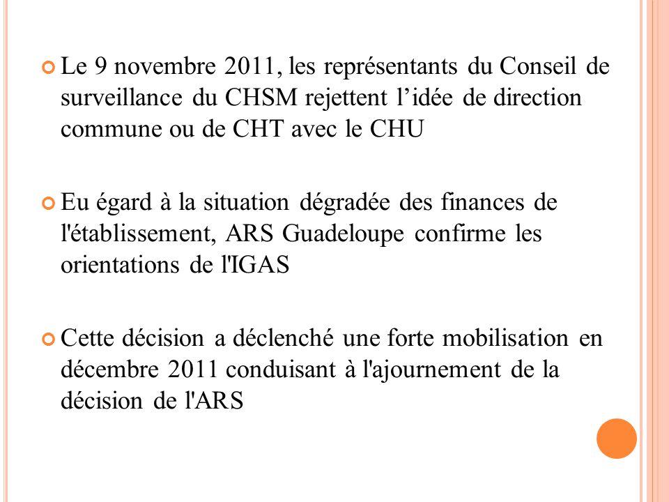 Le 9 novembre 2011, les représentants du Conseil de surveillance du CHSM rejettent l'idée de direction commune ou de CHT avec le CHU