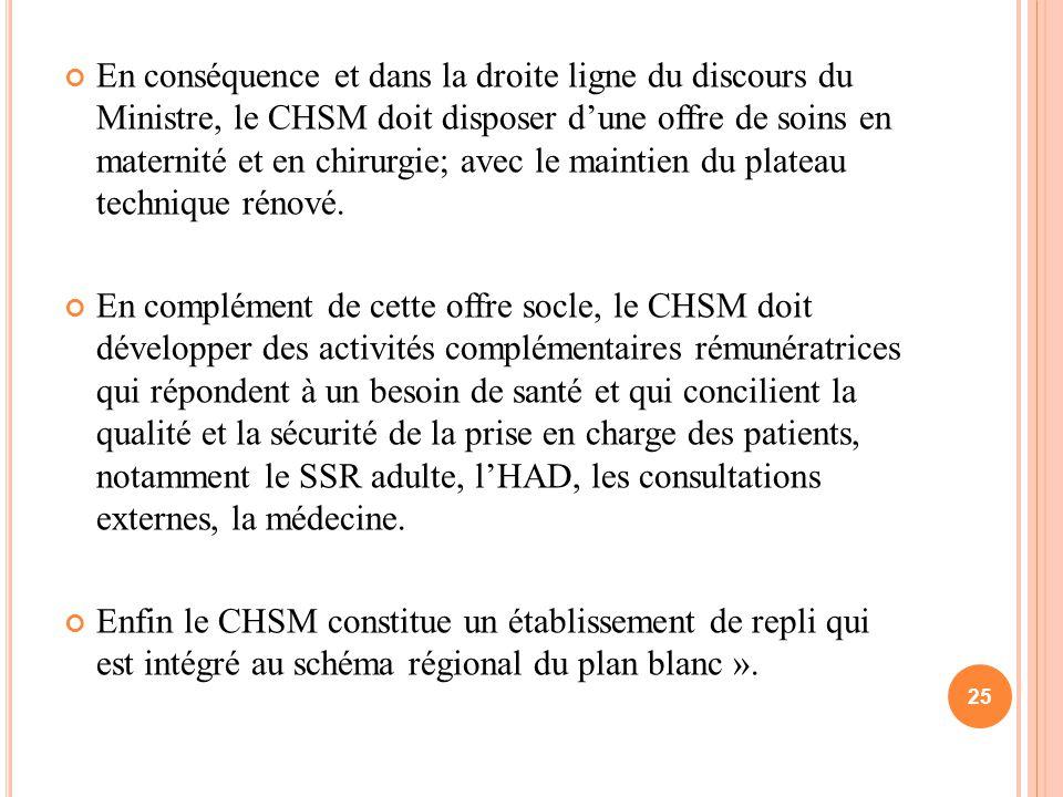 En conséquence et dans la droite ligne du discours du Ministre, le CHSM doit disposer d'une offre de soins en maternité et en chirurgie; avec le maintien du plateau technique rénové.