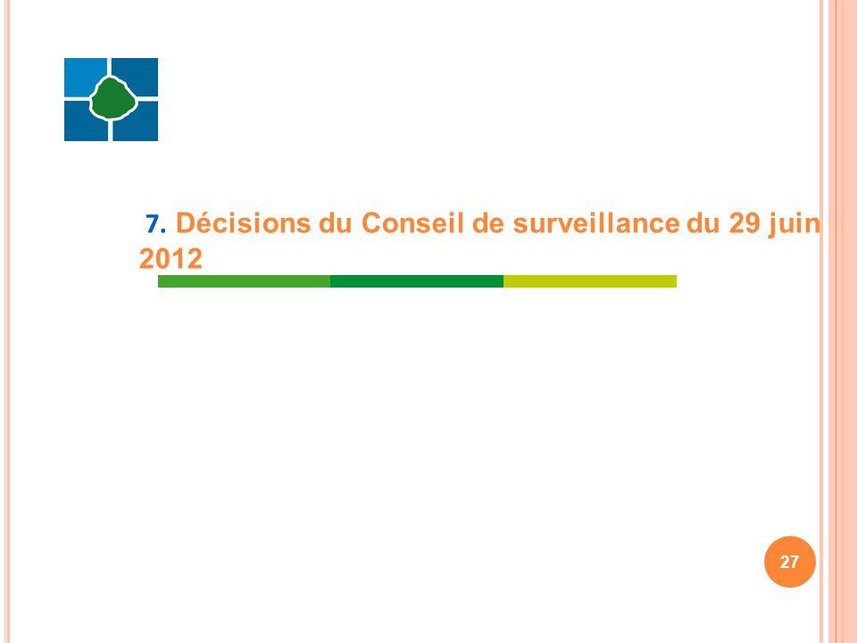 7. Décisions du Conseil de surveillance du 29 juin 2012