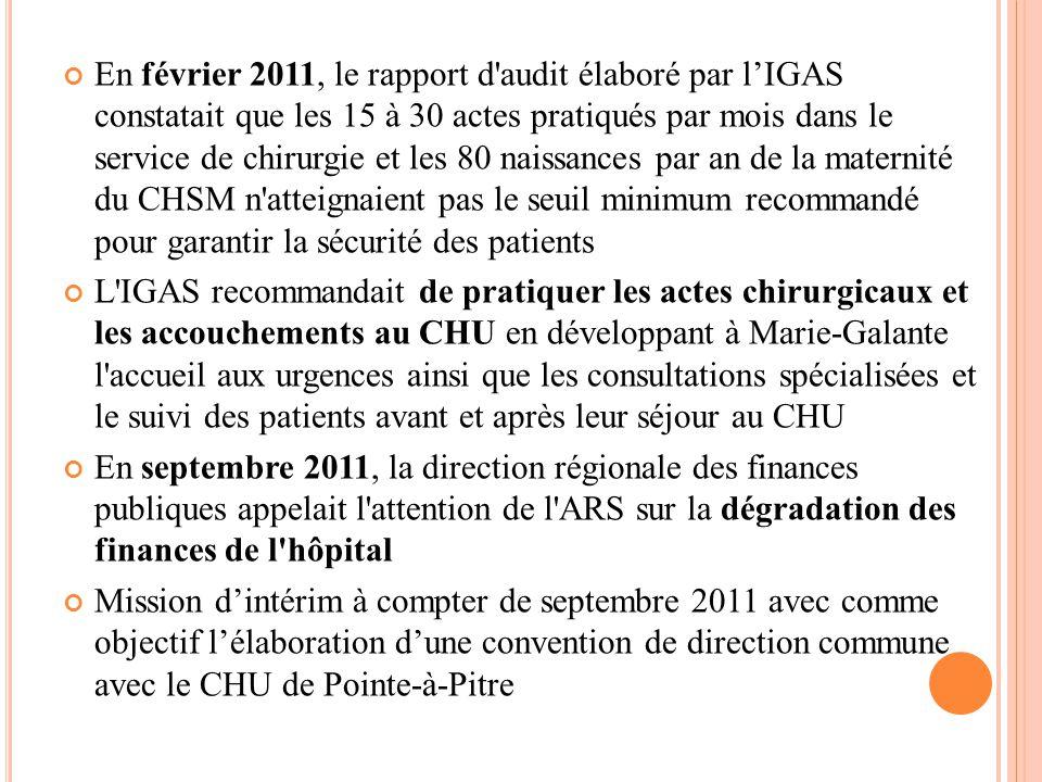 En février 2011, le rapport d audit élaboré par l'IGAS constatait que les 15 à 30 actes pratiqués par mois dans le service de chirurgie et les 80 naissances par an de la maternité du CHSM n atteignaient pas le seuil minimum recommandé pour garantir la sécurité des patients