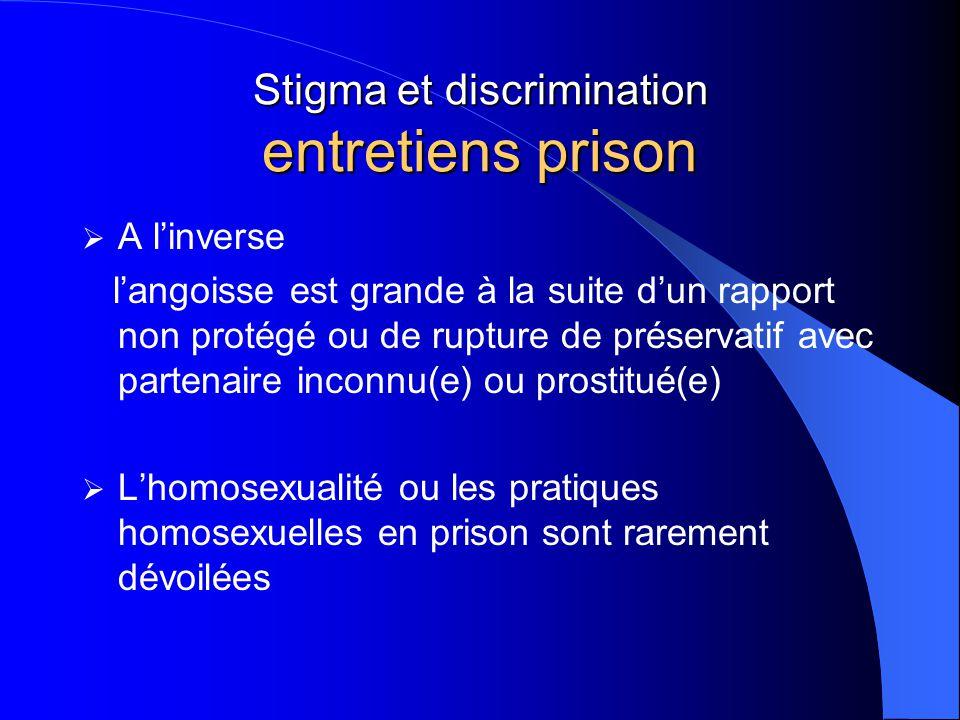 Stigma et discrimination entretiens prison