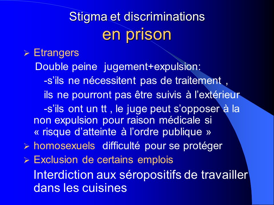 Stigma et discriminations en prison