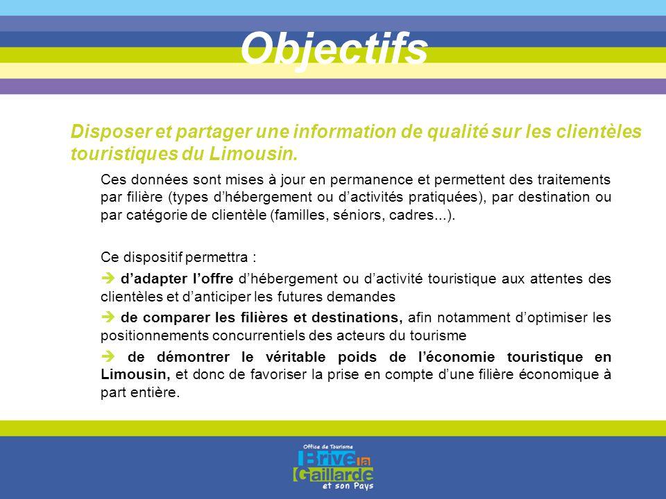 Objectifs Disposer et partager une information de qualité sur les clientèles touristiques du Limousin.