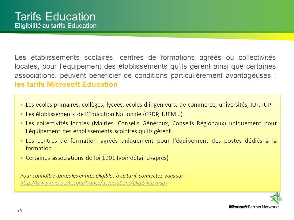 Tarifs Education Eligibilité au tarifs Education.