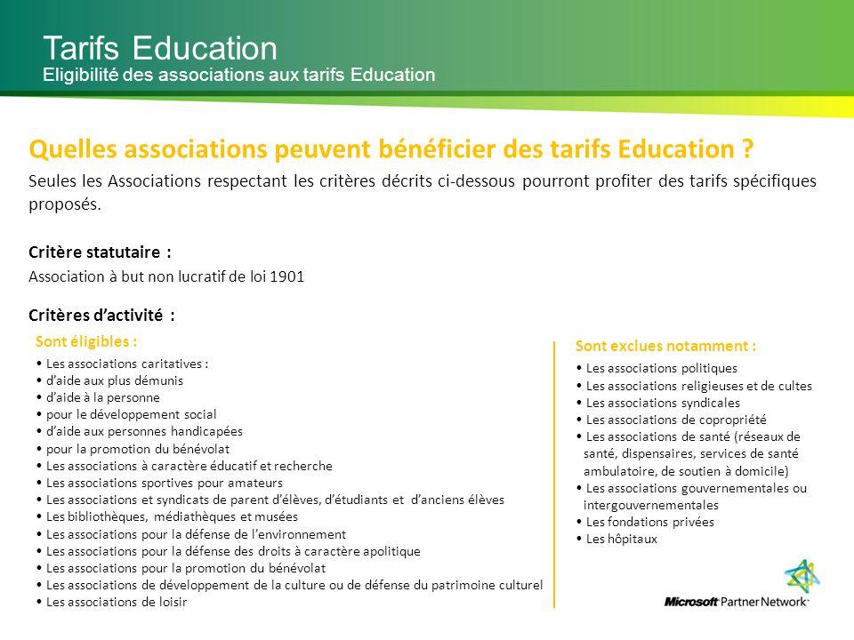 Tarifs Education Eligibilité des associations aux tarifs Education. Quelles associations peuvent bénéficier des tarifs Education