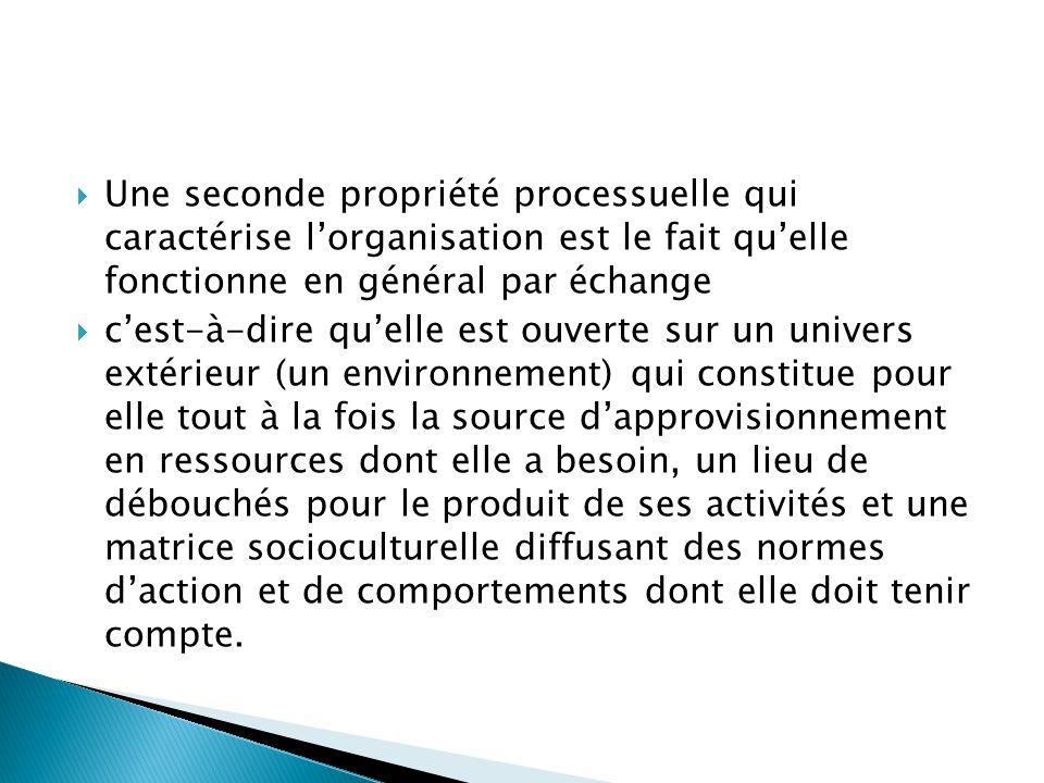 Une seconde propriété processuelle qui caractérise l'organisation est le fait qu'elle fonctionne en général par échange