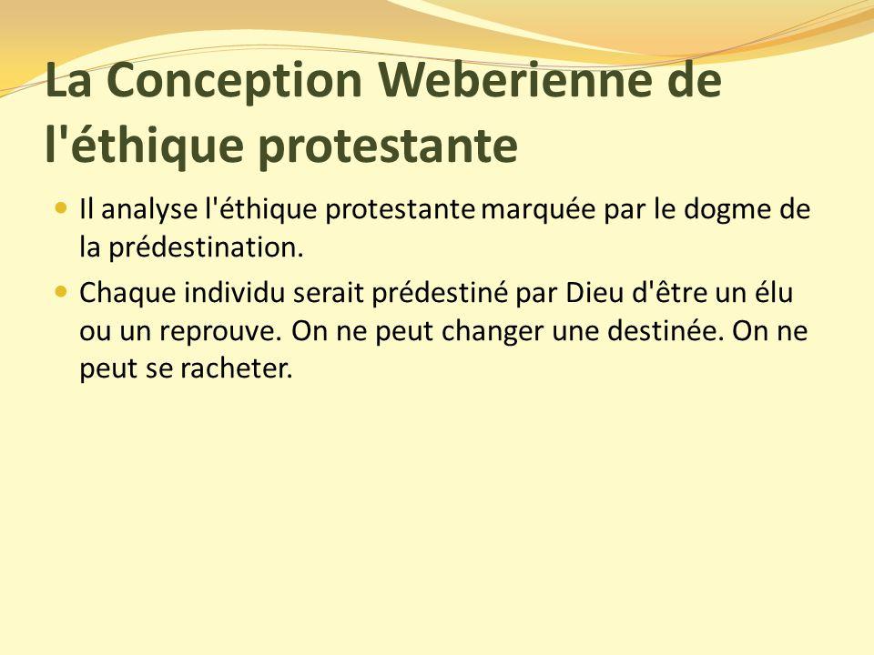 La Conception Weberienne de l éthique protestante