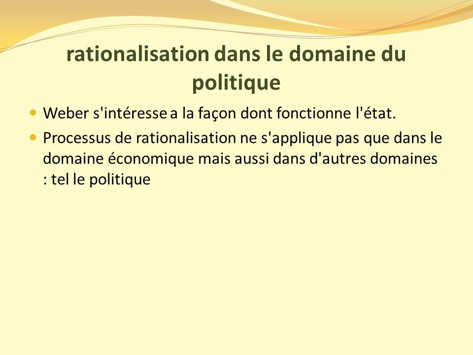 rationalisation dans le domaine du politique