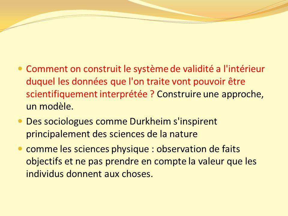 Comment on construit le système de validité a l intérieur duquel les données que l on traite vont pouvoir être scientifiquement interprétée Construire une approche, un modèle.