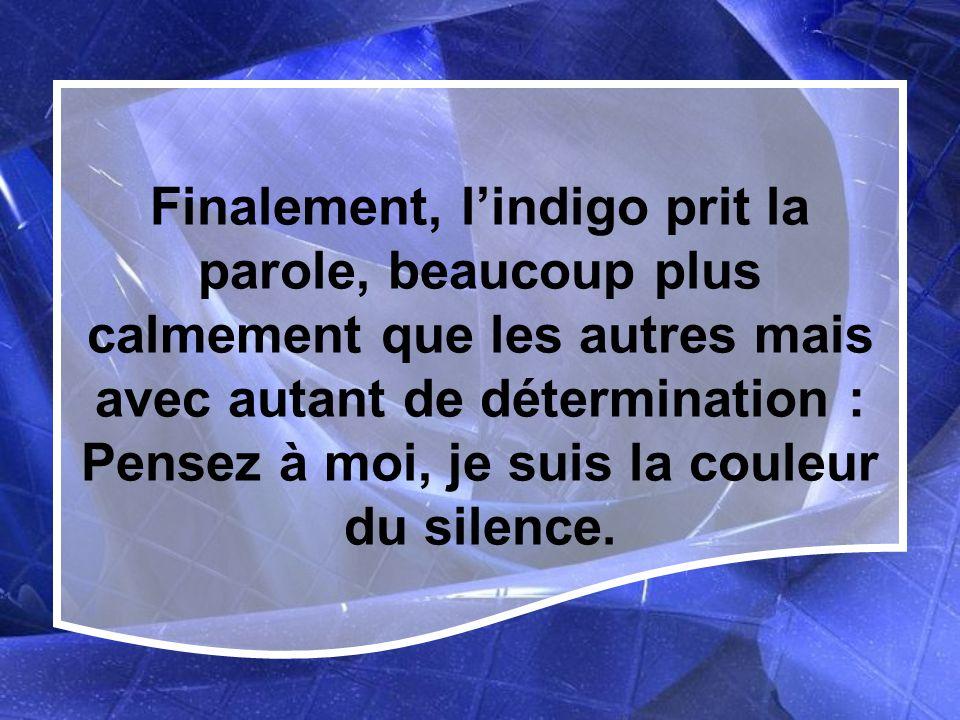 Finalement, l'indigo prit la parole, beaucoup plus calmement que les autres mais avec autant de détermination : Pensez à moi, je suis la couleur du silence.