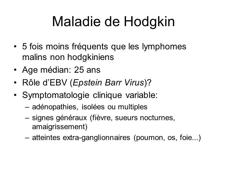 Maladie de Hodgkin 5 fois moins fréquents que les lymphomes malins non hodgkiniens. Age médian: 25 ans.