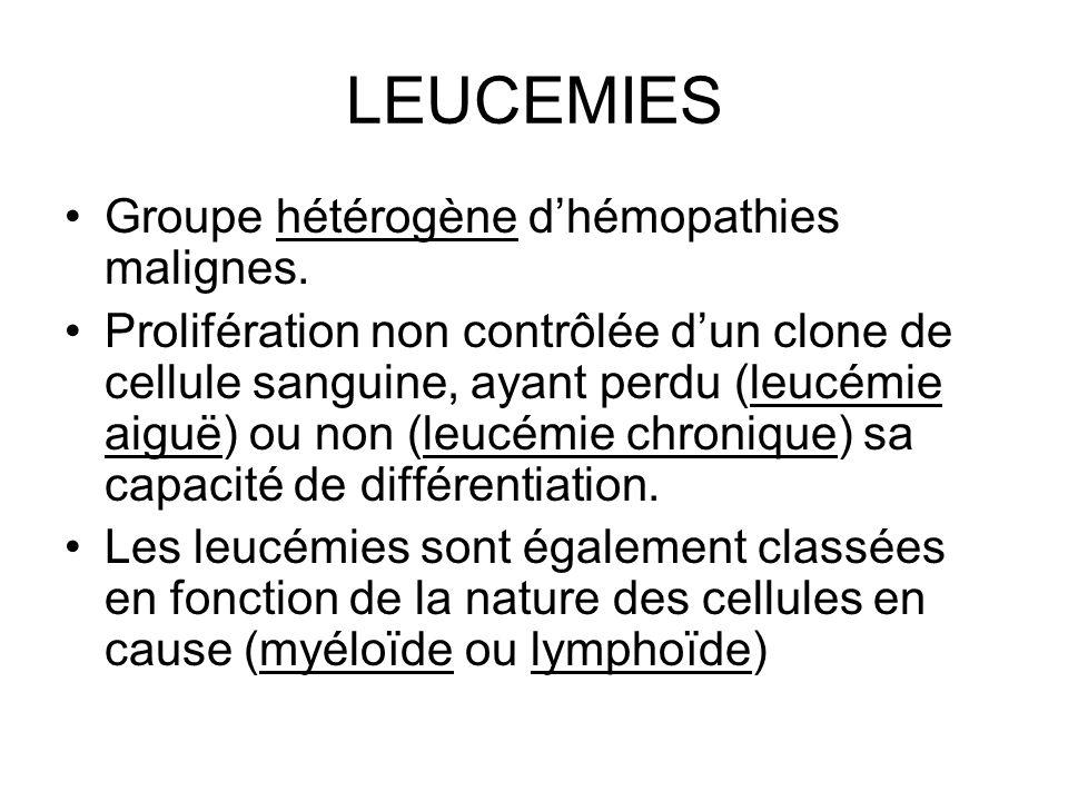 LEUCEMIES Groupe hétérogène d'hémopathies malignes.