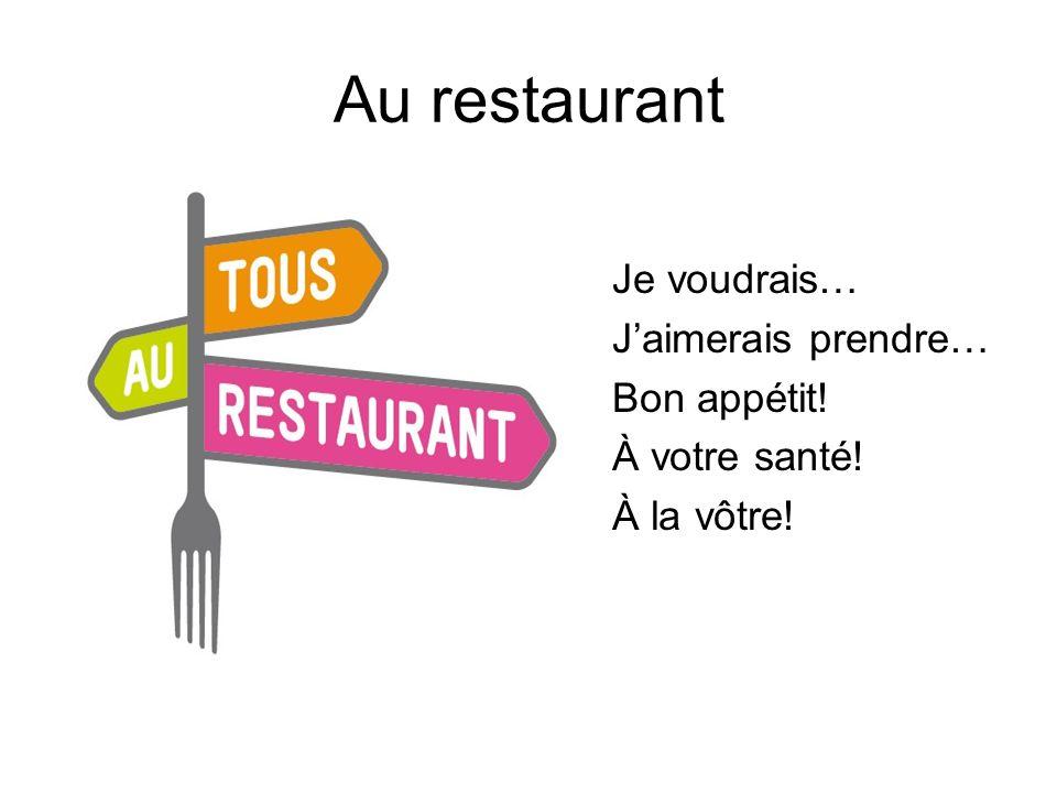 Au restaurant Je voudrais… J'aimerais prendre… Bon appétit!