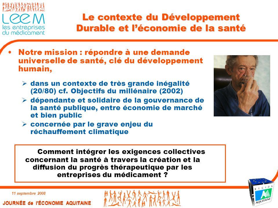 Le contexte du Développement Durable et l'économie de la santé