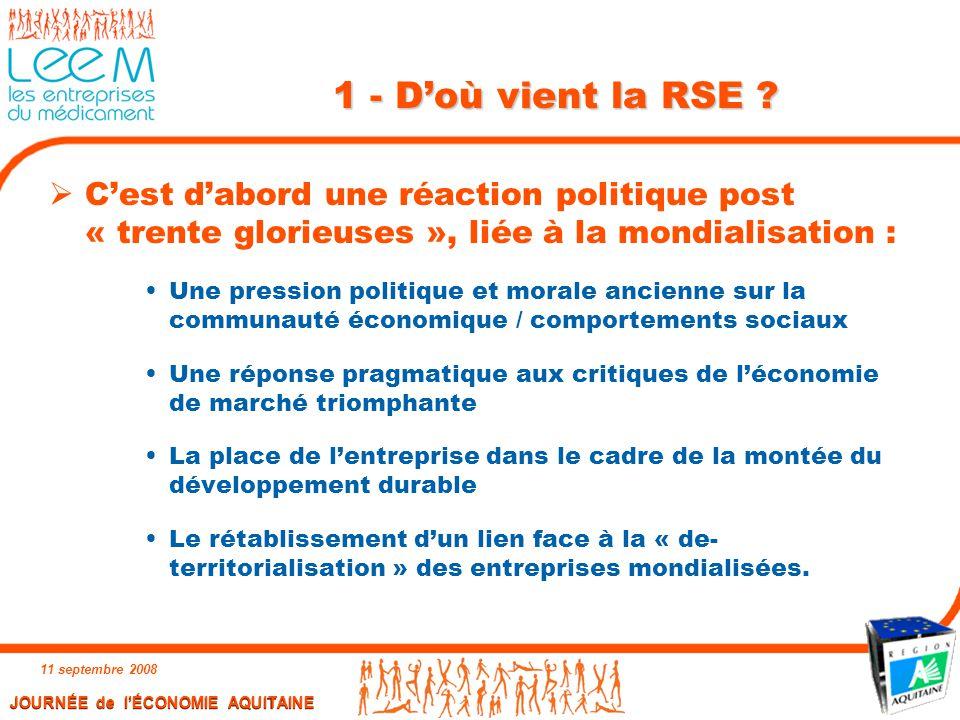 1 - D'où vient la RSE C'est d'abord une réaction politique post « trente glorieuses », liée à la mondialisation :