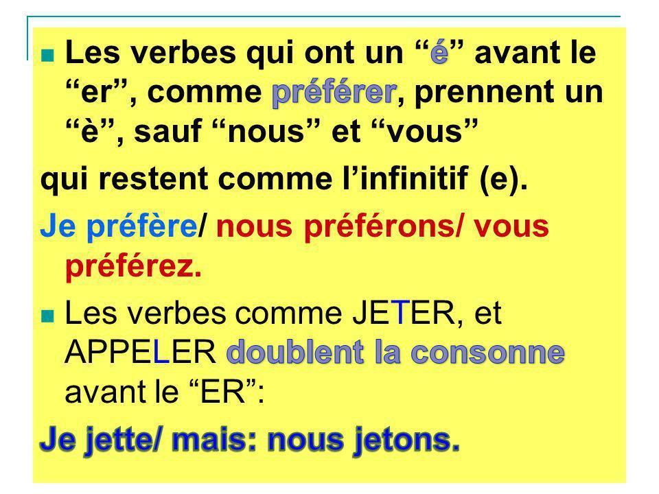 Les verbes qui ont un é avant le er , comme préférer, prennent un è , sauf nous et vous