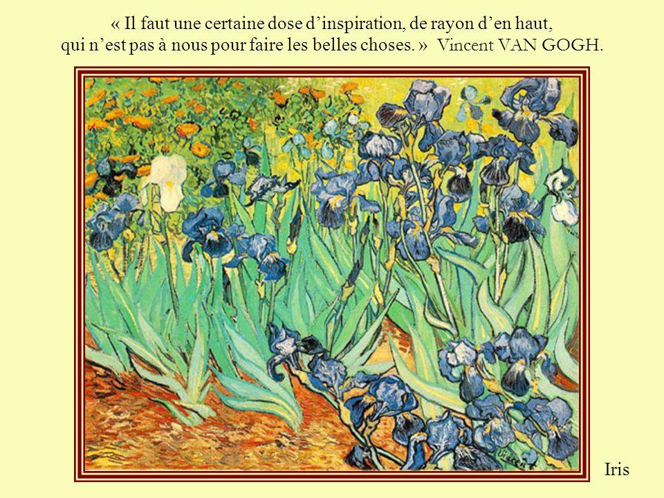 « Il faut une certaine dose d'inspiration, de rayon d'en haut, qui n'est pas à nous pour faire les belles choses. » Vincent VAN GOGH.