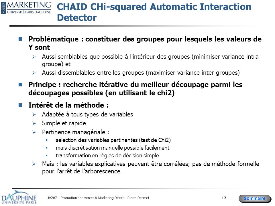 CHAID CHi-squared Automatic Interaction Detector