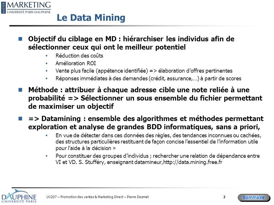 Le Data Mining Objectif du ciblage en MD : hiérarchiser les individus afin de sélectionner ceux qui ont le meilleur potentiel.