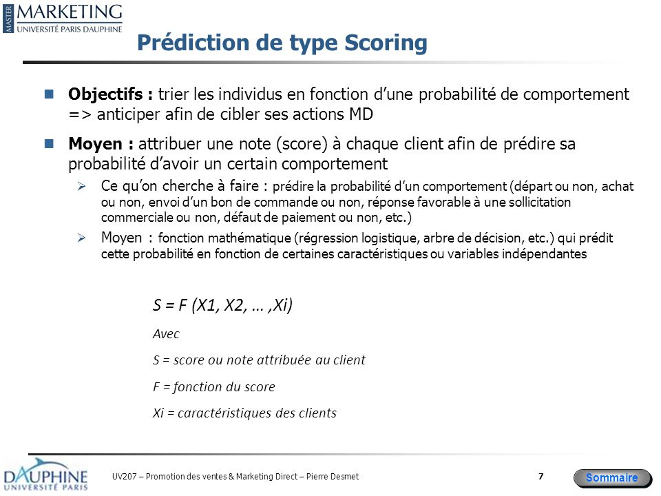 Prédiction de type Scoring