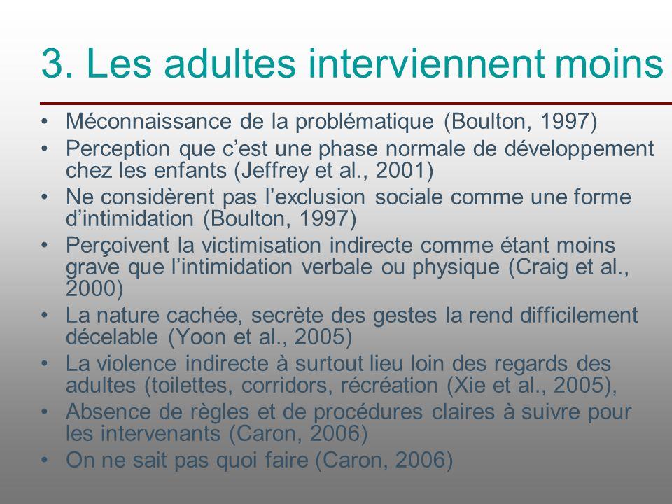 3. Les adultes interviennent moins