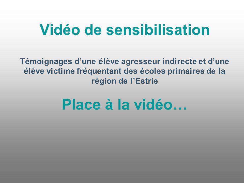Vidéo de sensibilisation Témoignages d'une élève agresseur indirecte et d'une élève victime fréquentant des écoles primaires de la région de l'Estrie Place à la vidéo…