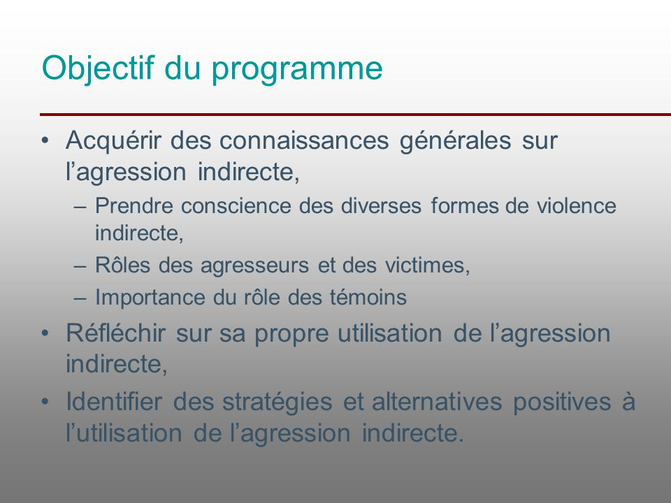 Objectif du programme Acquérir des connaissances générales sur l'agression indirecte, Prendre conscience des diverses formes de violence indirecte,