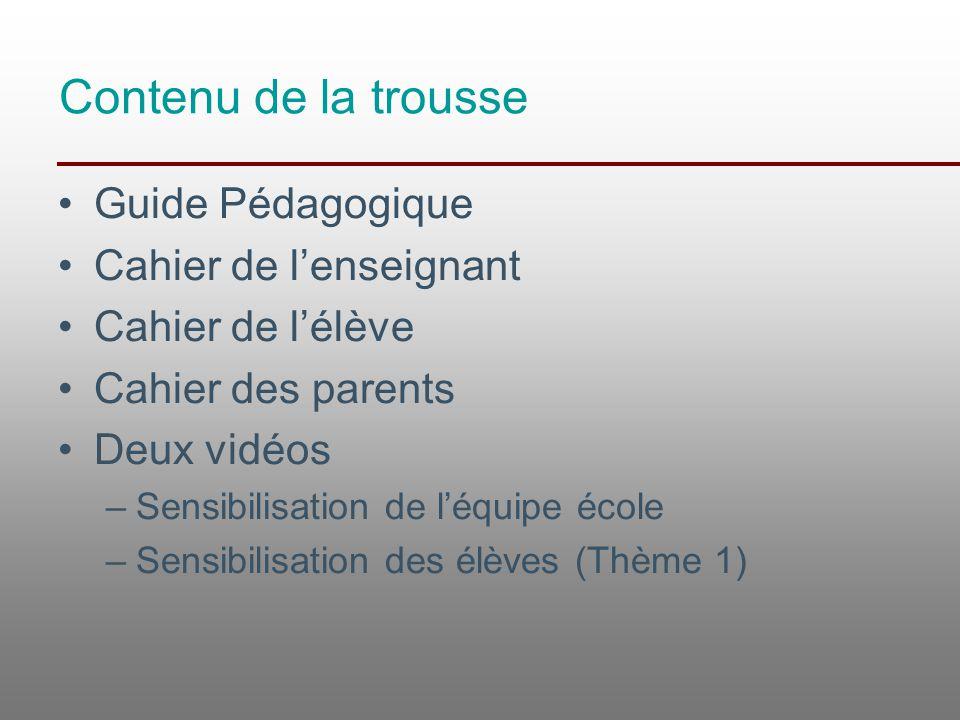 Contenu de la trousse Guide Pédagogique Cahier de l'enseignant