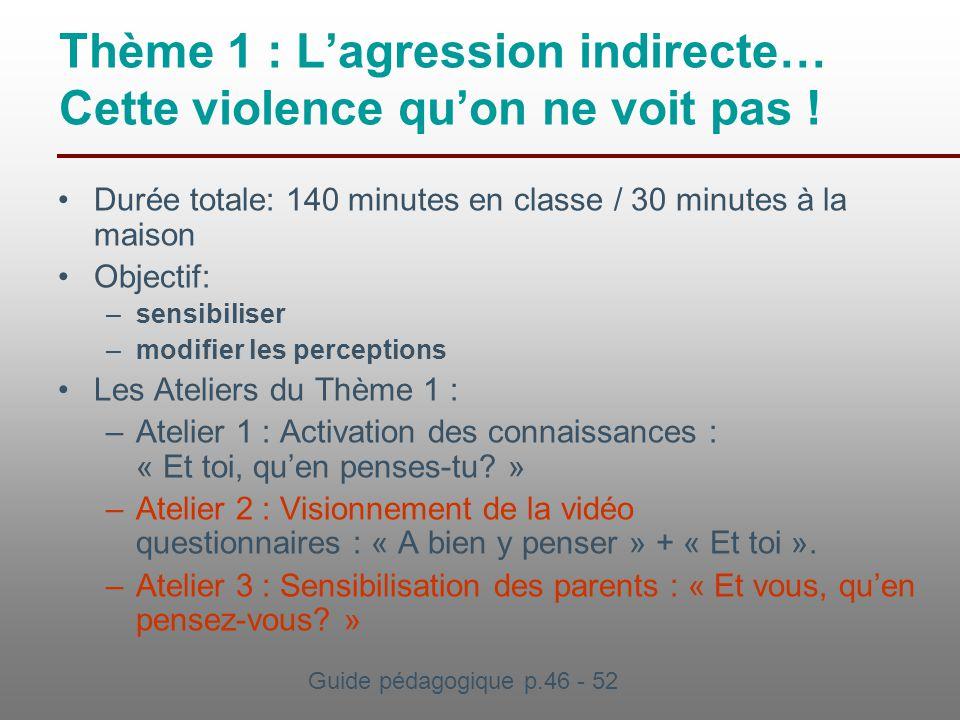 Thème 1 : L'agression indirecte… Cette violence qu'on ne voit pas !