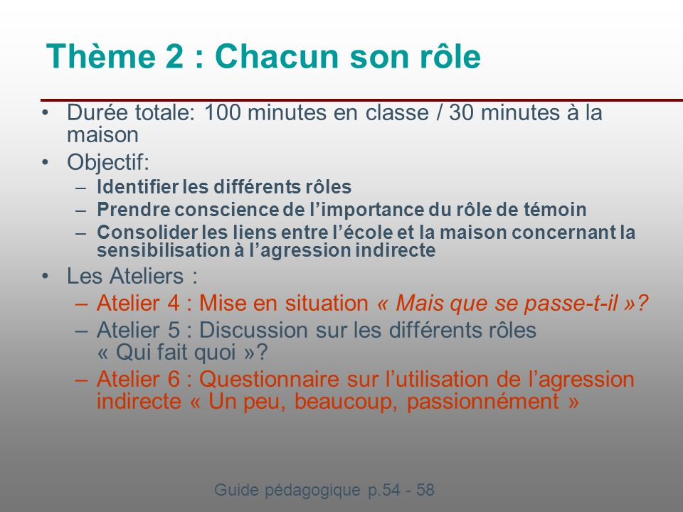 Thème 2 : Chacun son rôle Durée totale: 100 minutes en classe / 30 minutes à la maison. Objectif: Identifier les différents rôles.