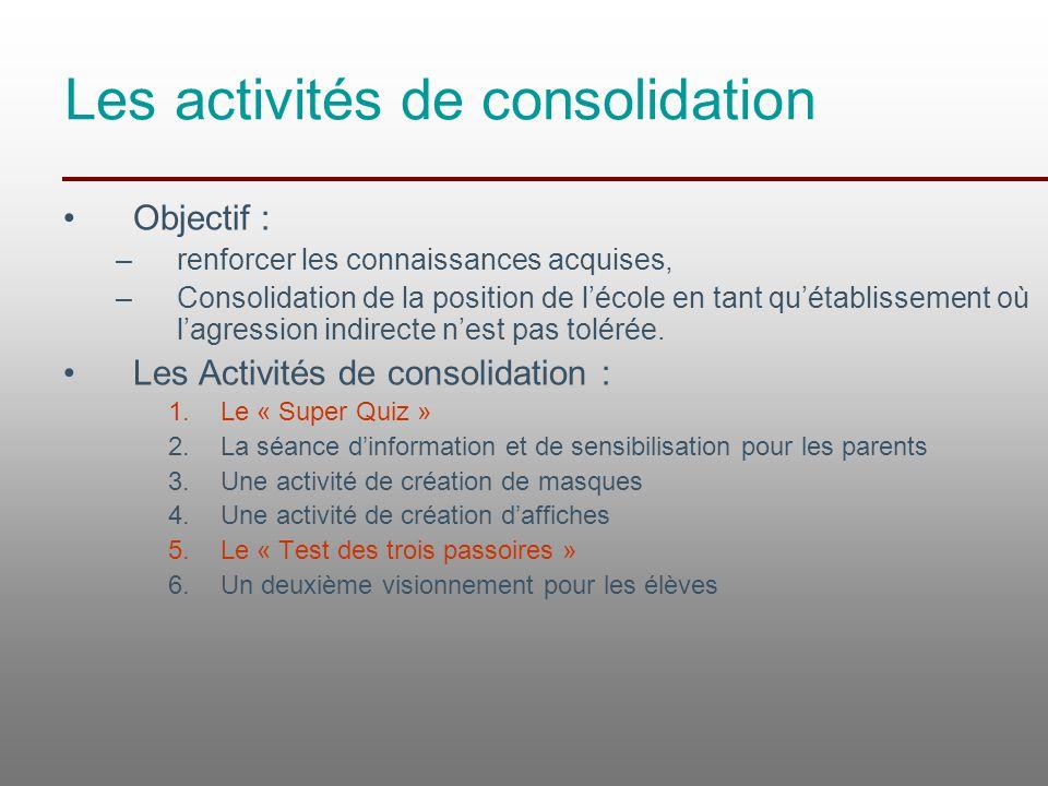 Les activités de consolidation