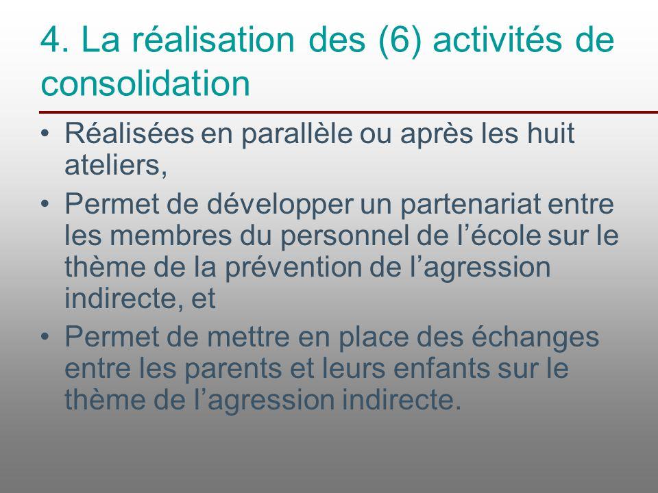 4. La réalisation des (6) activités de consolidation