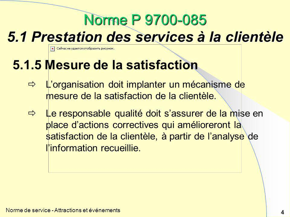 Introduction la norme de service attractions et for Domon service a la clientele