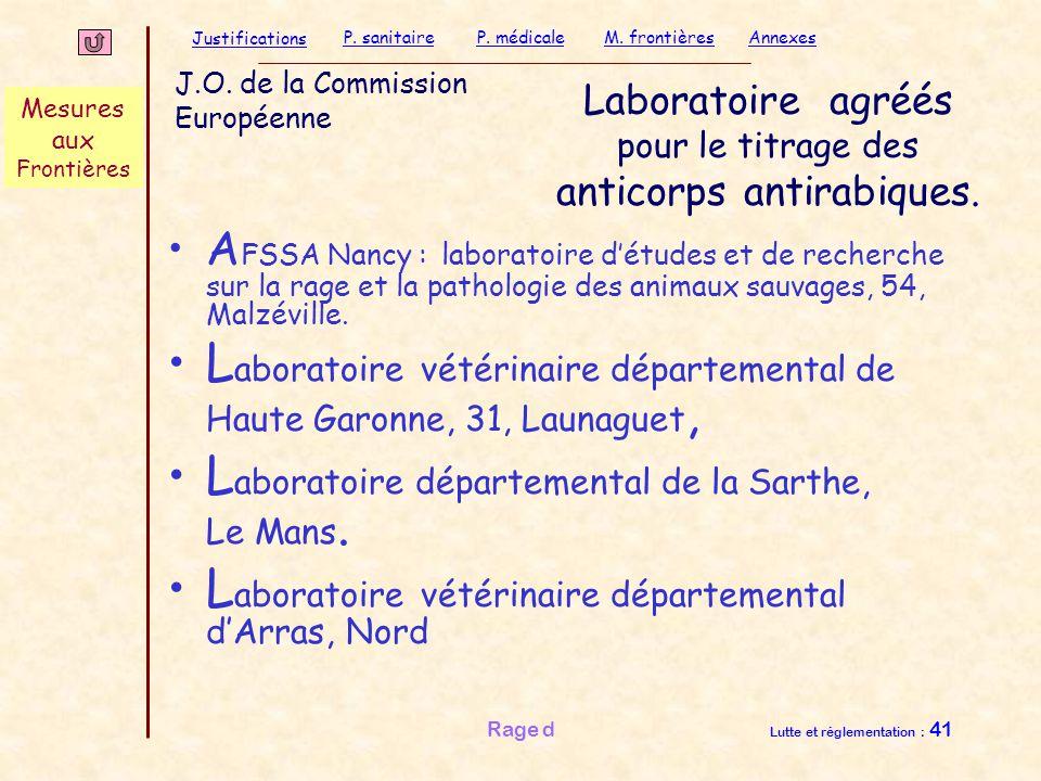 Laboratoire agréés pour le titrage des anticorps antirabiques.