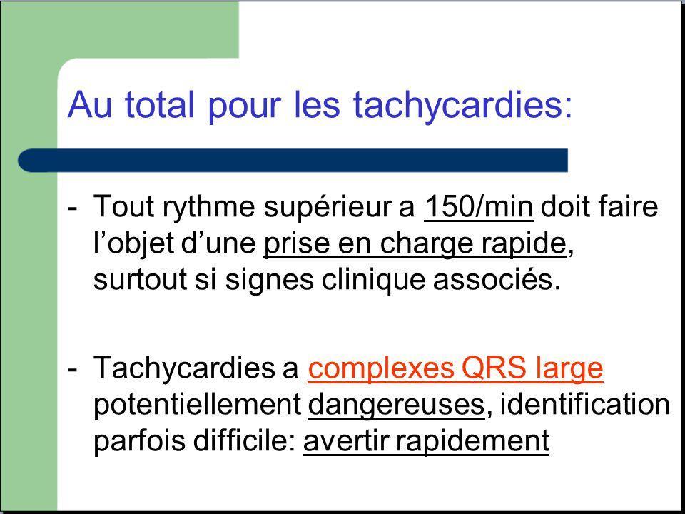 Au total pour les tachycardies: