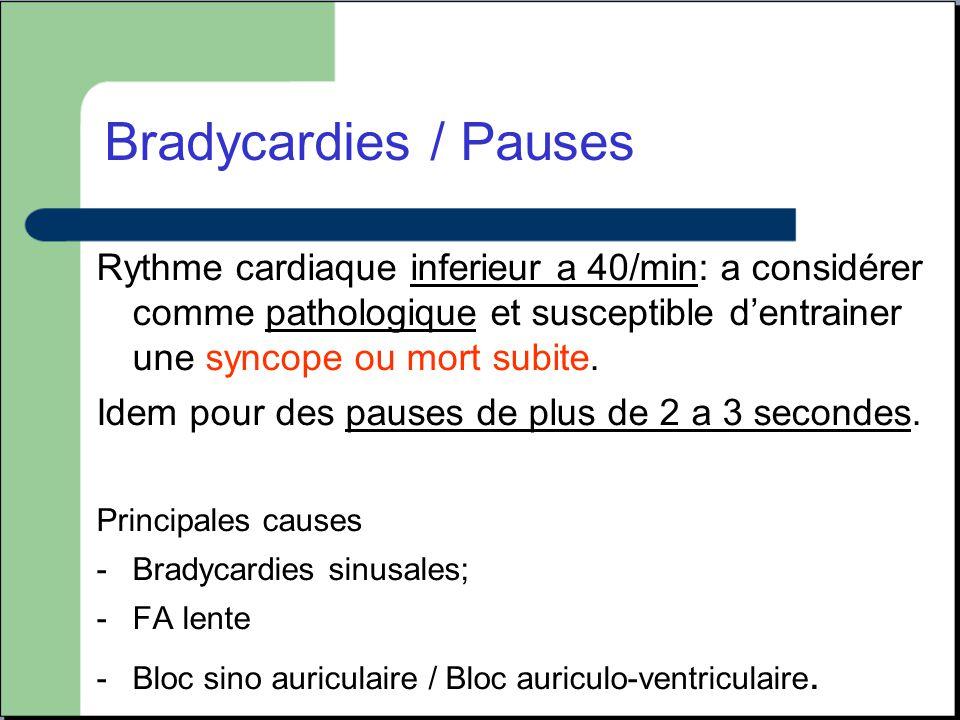 Bradycardies / Pauses Rythme cardiaque inferieur a 40/min: a considérer comme pathologique et susceptible d'entrainer une syncope ou mort subite.