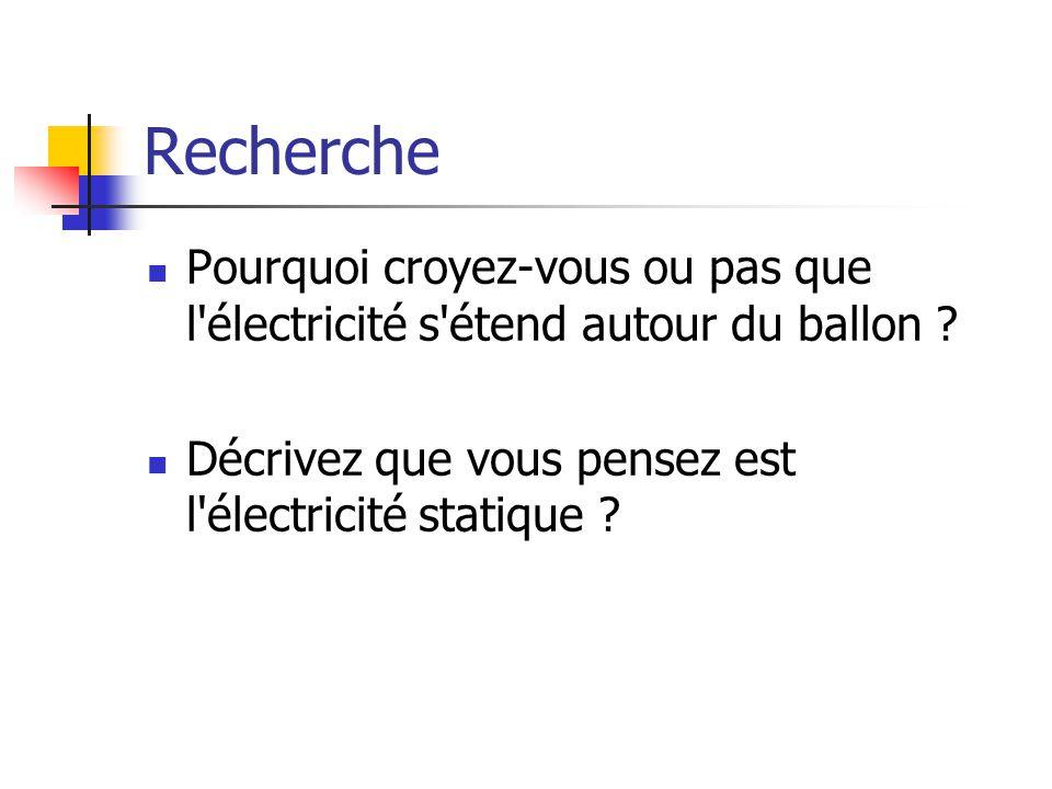 Recherche Pourquoi croyez-vous ou pas que l électricité s étend autour du ballon .