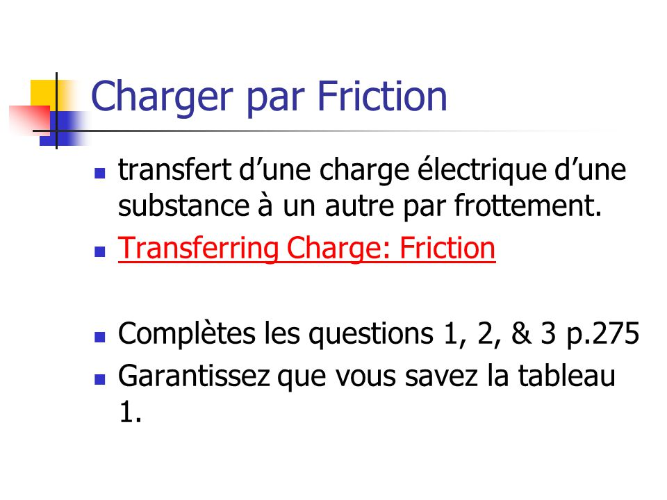Charger par Friction transfert d'une charge électrique d'une substance à un autre par frottement. Transferring Charge: Friction.